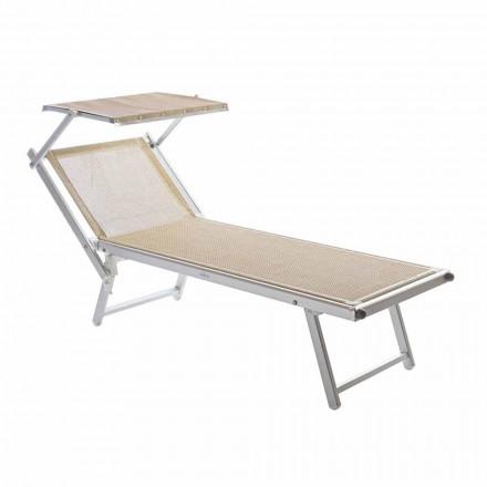 Chaise-longue da Giardino Moderna con Parasole e Schienale Reclinabile - Arnold