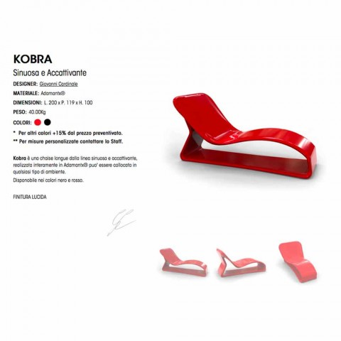 Chaise Longue Design Moderno Kobra Made in Italy