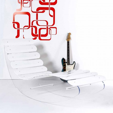 Chaise longue di design in plexiglass trasparente Josue made in Italy