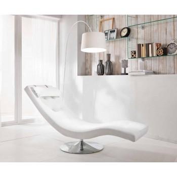 Chaise Longue di Design Moderno in Similpelle e Metallo Cromato – Comodita