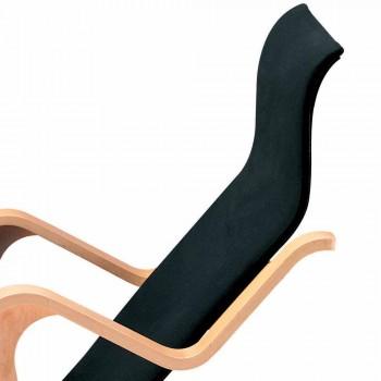 Chaise Longue in Legno di Betulla con Seduta in Cotone Made in Italy - Fortaleza