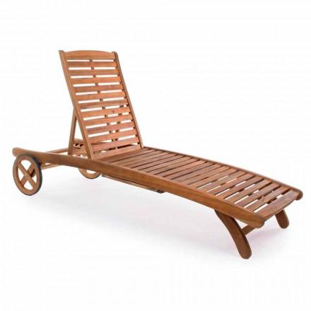 Chaise Longue da Giardino in Legno con Ruote di Design per Esterno - Roxen