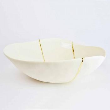 Ciotole in Porcellana Bianca e Foglia d'Oro Design di Lusso Italiano - Cicatroro