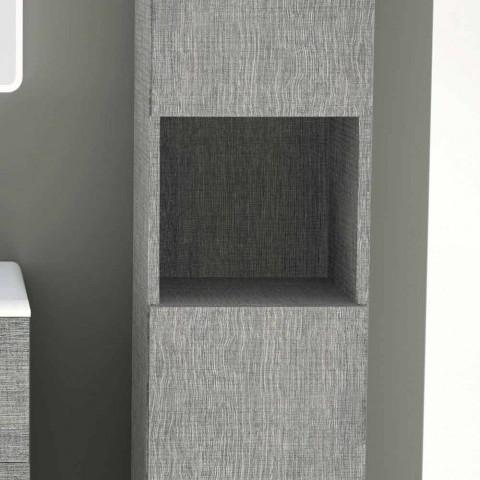 Colonna bagno a 2 ante in ecolegno design moderno Ambra, made in Italy
