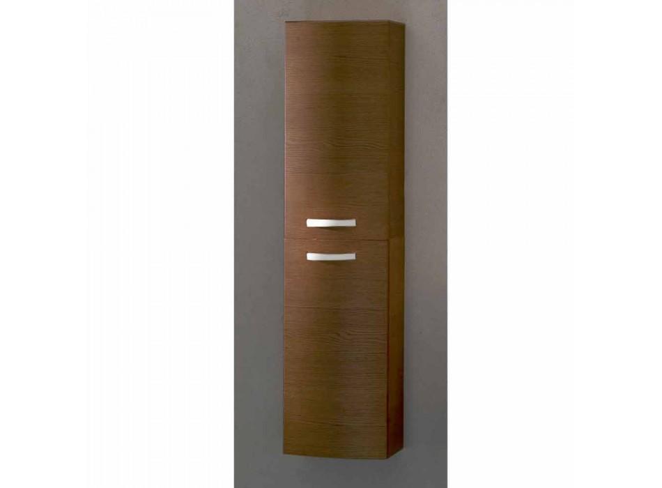 Colonna bagno sospesa a 2 ante in legno rovere Gioia, made in Italy