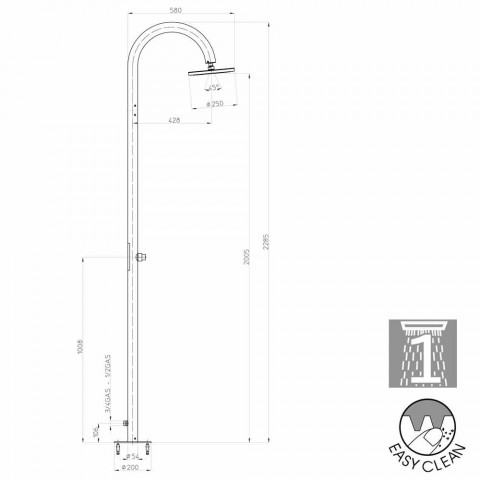 Colonna doccia Bossini Oki moderna con alimentazione laterale