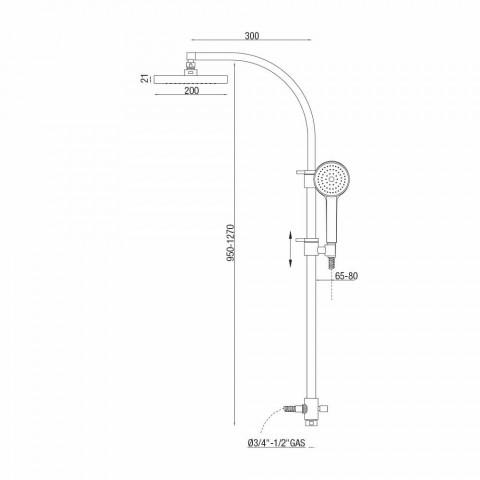 Colonna Doccia con Deviatore e Soffione Quadrato Made in Italy - Silver