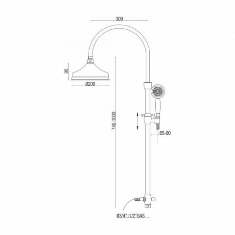 Colonna Doccia Telescopica in Ottone Design Classico Made in Italy - Nesto