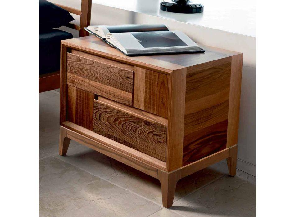 Comò 2 cassetti in legno massello di noce design moderno,Nino