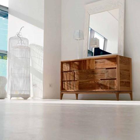 Comò 3 cassetti design moderno in massello di noce,Nino