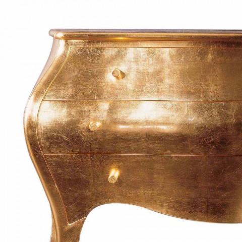 Comò 3 cassetti in legno massello oro design, made in Italy,Giotto