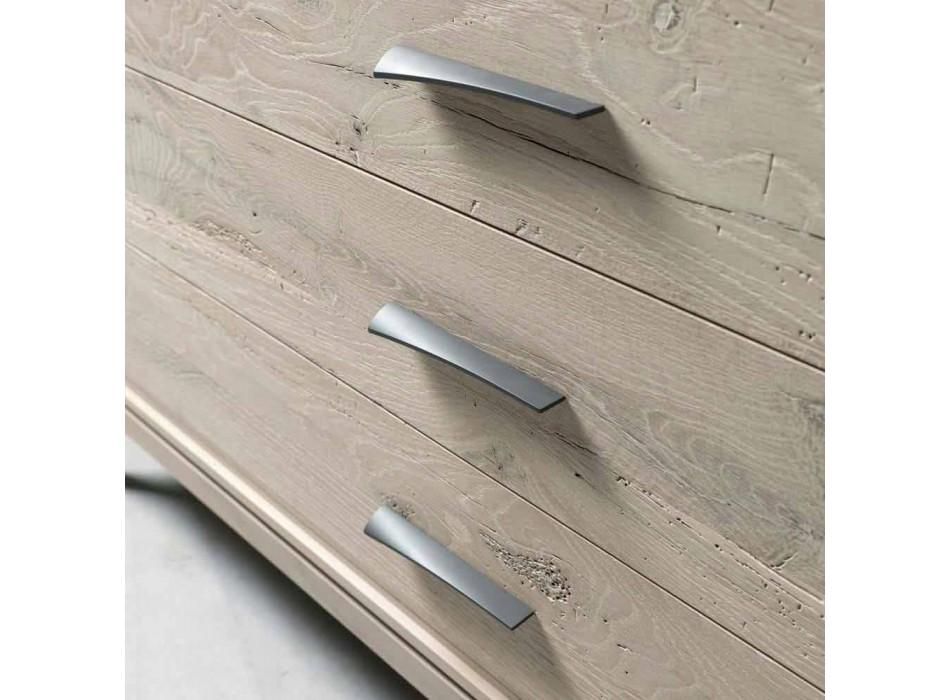 Comò 3 cassetti noce design moderno, L 131 x P 55 x H 80 cm,Sandro