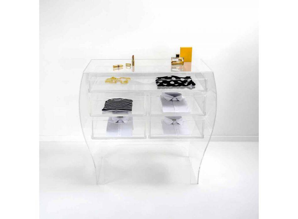 Comò 5 cassetti design moderno plexiglass trasparente Billy