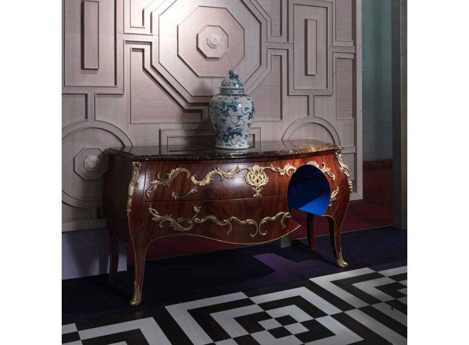 Comò in marmo e decorazioni in ottore di design, made in Italy,Gildo