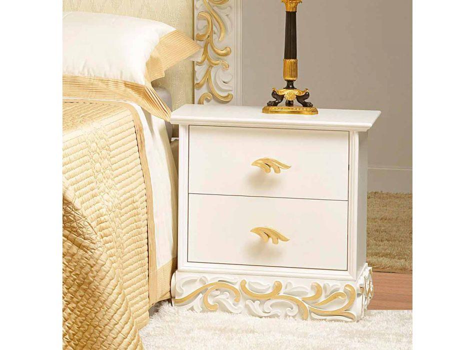 Comodino 2 cassetti in legno con decori oro Kush, made in Italy