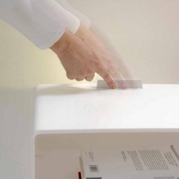 Comodino bianco con luce LED illuminabile al tocco Adelia
