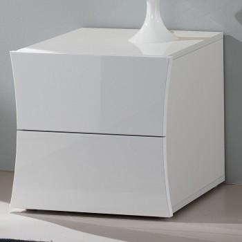 Comodino Camera da Letto 2 Cassetti Legno Bianco Design ad Arco - Sabine