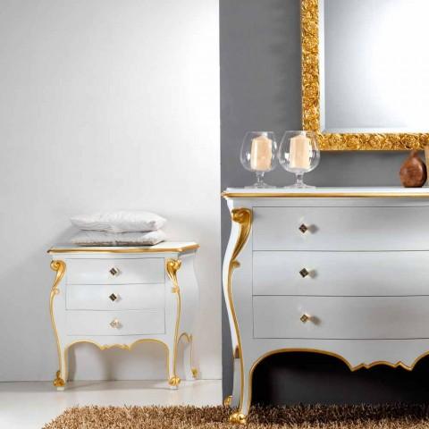 Comodino design classico con profili oro Bio, made in Italy