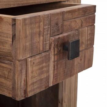 Comodino di Design con Cassetto in Legno di Acacia e Ferro - Dionne