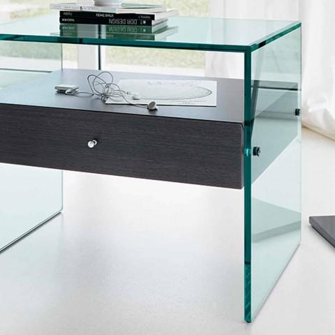 Comodino di Design Moderno in Vetro Extrachiaro Made in Italy– Segreto
