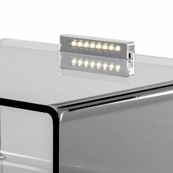 Comodino fumé con luce LED illuminabile al tocco Adelia, made in Italy