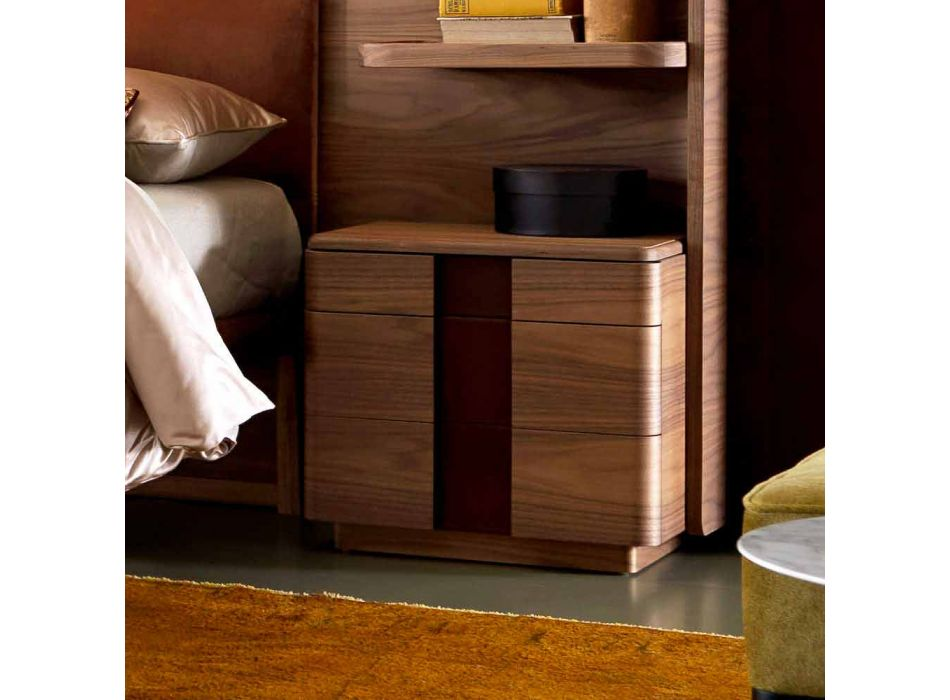 Comodino in legno massello di design moderno Grilli York made in Italy