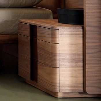 Comodino in legno massello di design moderno Grilli York made in Italy