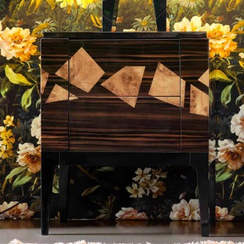 Comodino in radica di noce e legno ebano Grilli Zarafa made in Italy