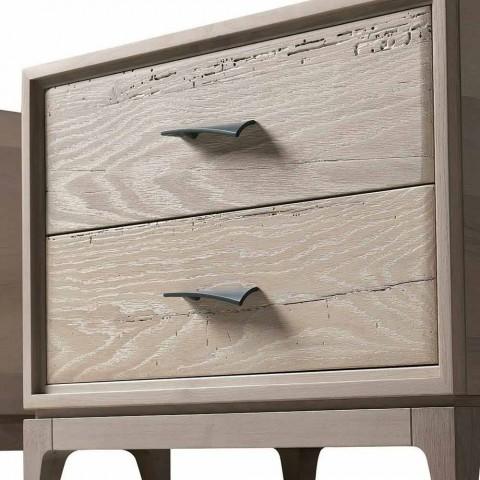 Comodino moderno 2 cassetti in rovere antico, L 60 x P 42 cm,Margo