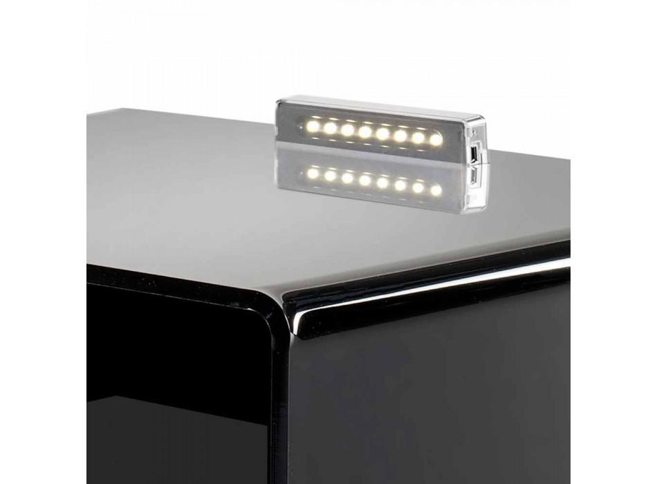 Comodino nero con luce LED illuminabile al tocco Adelia, made in Italy