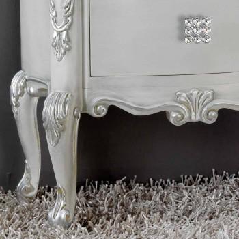 Comodino stile classico in legno massello, maniglie in cristallo Bone
