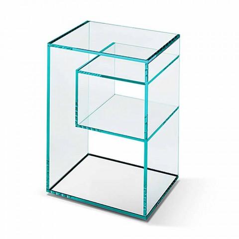 Comodino Tavolino in Vetro Extrachiaro 2 Dimensioni Made in Italy - Linzy