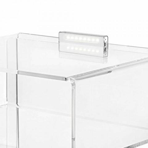 Comodino trasparente con luce LED illuminabile al tocco Adelia