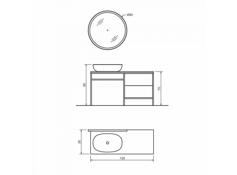 Composizione 3 Mobili Arredo Bagno in Metallo e Legno Rovere di Lusso - Cizco