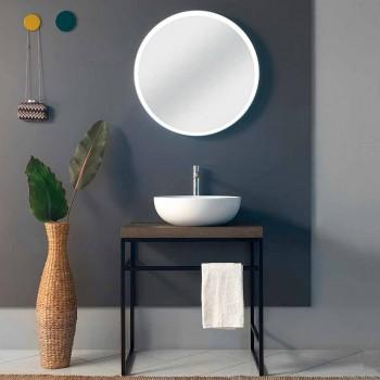 Composizione 3 Mobili Bagno in Metallo, Legno e Ceramica Made in Italy - Cizco