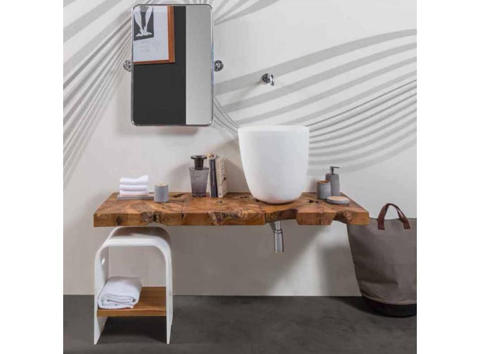 Composizione 3 Mobili Bagno Sospesa con Lavabo Bianco in Resina - Abbaglio