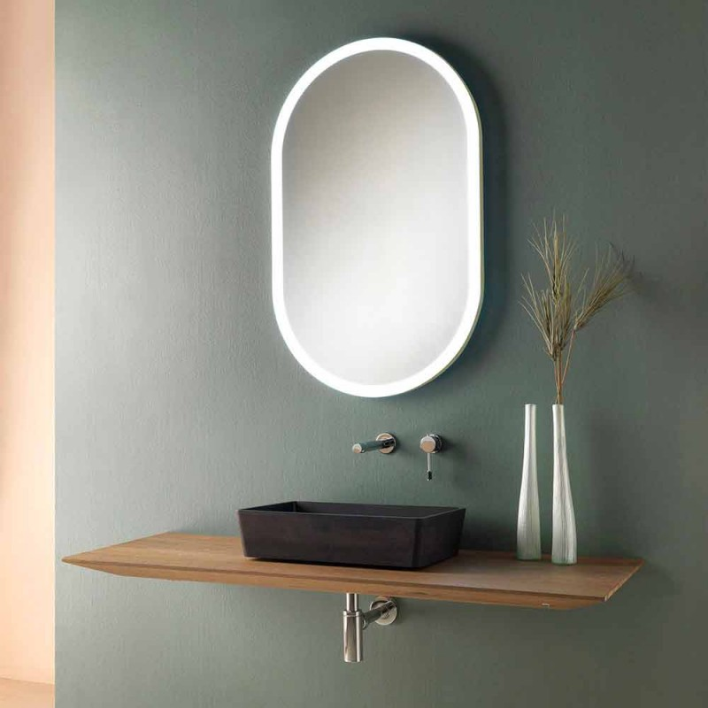 Composizione 3 Mobili Bagno Sospesa in Legno, Resina e Specchio Ovale - Tonal