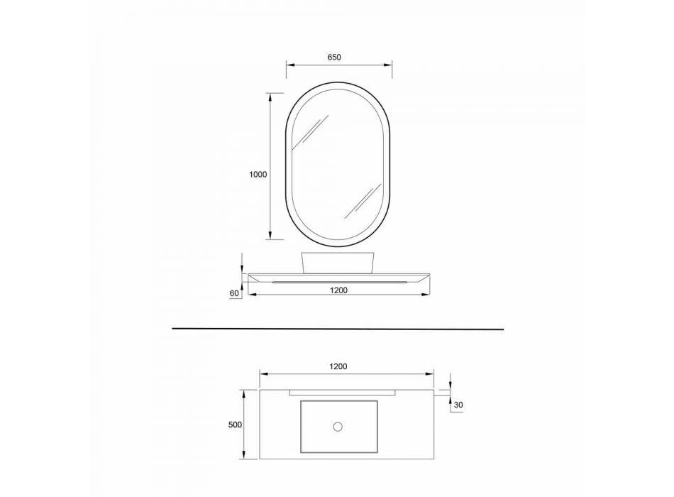 Composizione 3 Mobili Bagno Sospesi in Legno, Resina e Specchio L120 cm - Tonal