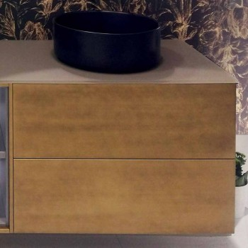Composizione 5 Mobili Bagno Sospesi con Doppio Lavabo Made in Italy - Renga