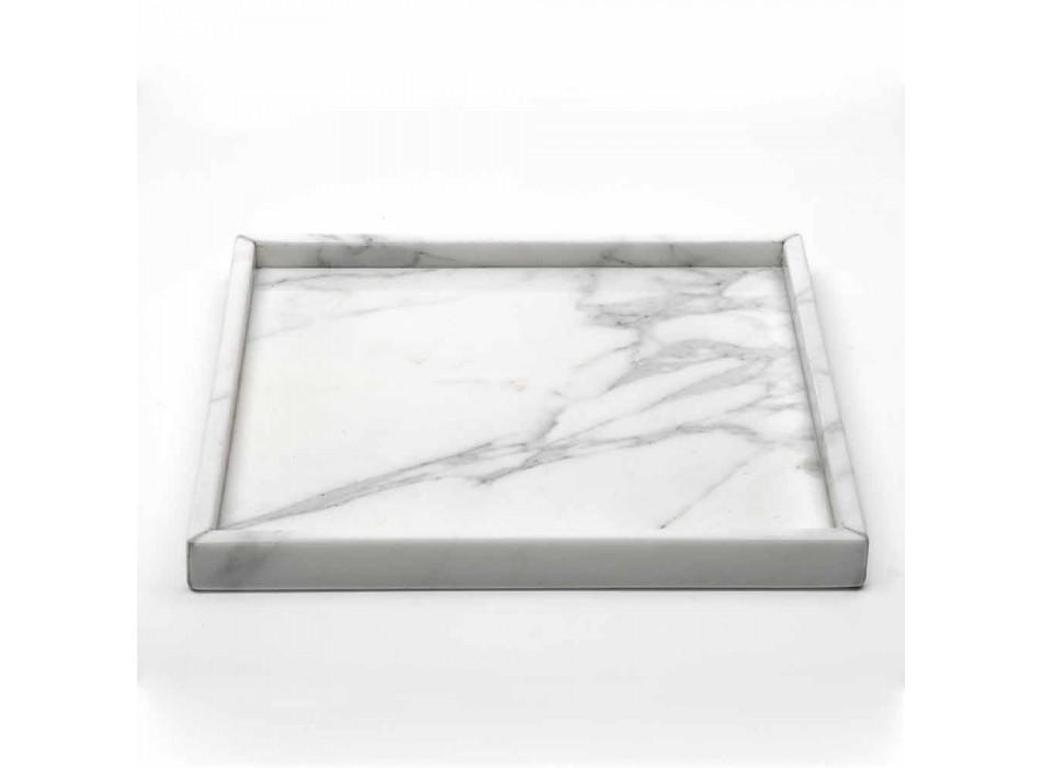 Composizione Accessori da Bagno in Marmo Bianco di Carrara Made in Italy - Tuono