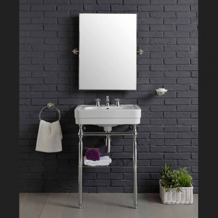 Composizione arredo bagno vintage con lavabo su struttura metallica Beauty