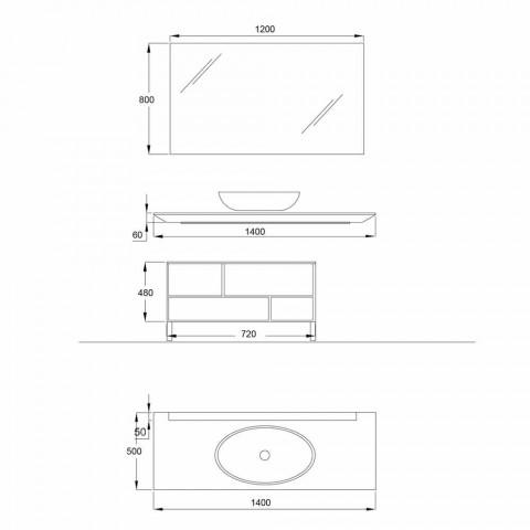 Composizione Arredo Bagno Design in Legno, Cristallo Bronzato e Specchio - Tonal