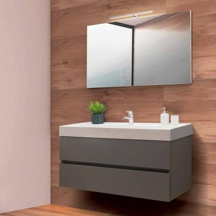 Mobile Bagno 120 cm, Specchio e Lavabo – Becky