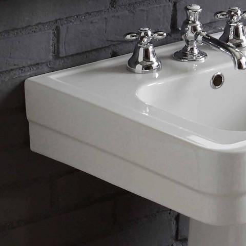Composizione bagno lavabo su colonna in ceramica bianca Ania