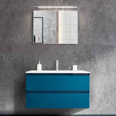 Mobile Bagno 90 cm, Lavabo e Specchio Moderni – Becky