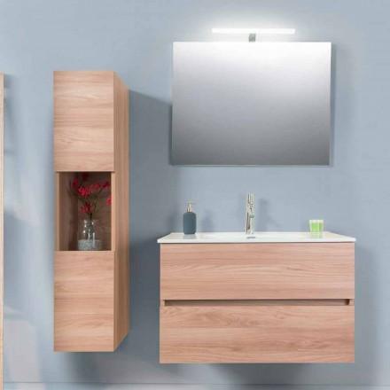 Mobile Bagno 90 cm, Lavabo, Specchio e Colonna – Becky