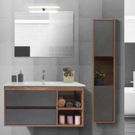 Mobile Bagno 100 cm, Lavabo, Specchio e Colonna – Becky