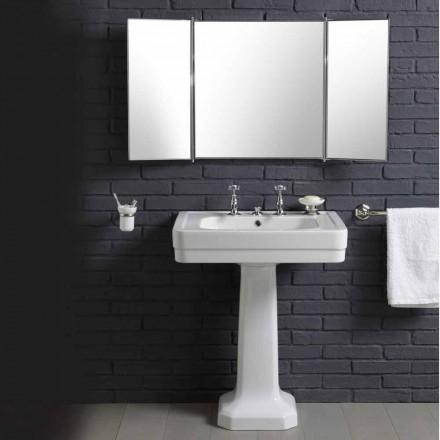 Composizione con lavabo in ceramica su colonna stile vintage anni 900 Line