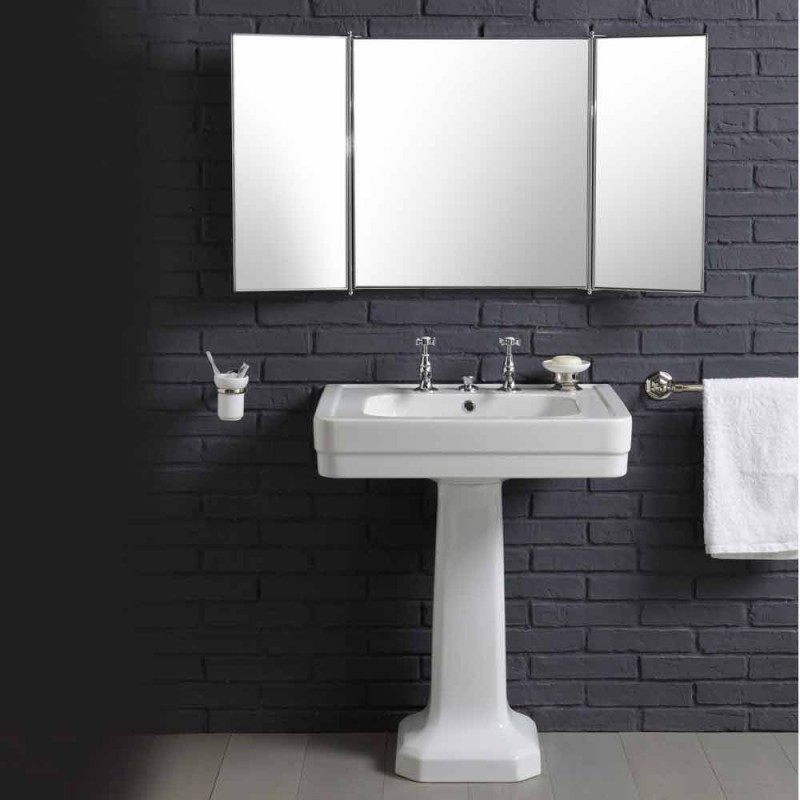 Composizione con lavabo in ceramica su colonna stile anni 900 Line