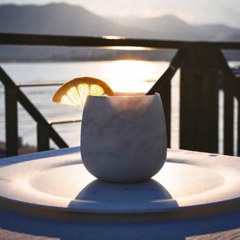 Composizione di 2 Bicchieri in Marmo Bianco di Carrara Made in Italy - Dolla